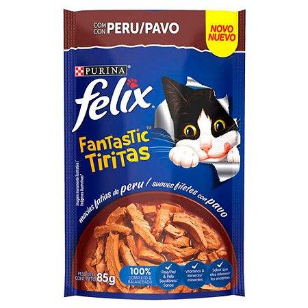 Ração Úmida Felix Fantastic Sachê Tiras Peru 85g - Purina
