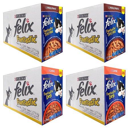 Combo 60un Felix Fantastic Sachê 85g Peru / Deli Carne