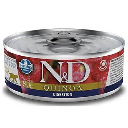 Ração Úmida N&D Lata Gatos Quinoa Digestion Cordeiro 80g
