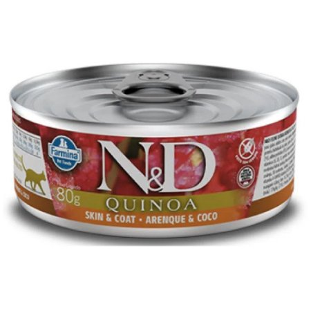 Ração Úmida N&D Lata Gatos Quinoa Skin & Coat Arenque 80g