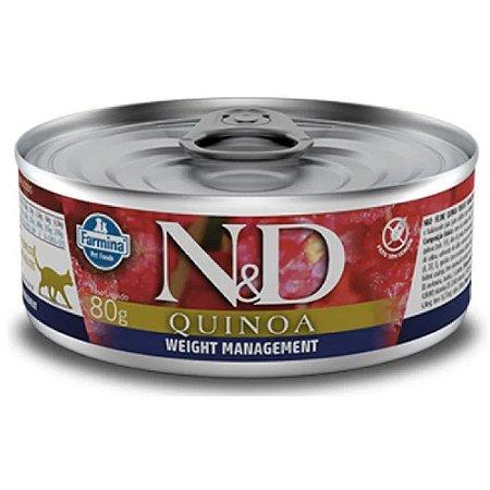 Ração Úmida N&D Lata Gatos Quinoa Weight Management 80g