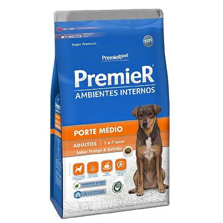 Ração Super Premium Premier Ambientes Internos Cães Adultos Porte Médio Sabor Frango e Salmão 12kg - PremierPet