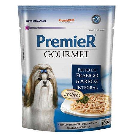 Ração Úmida Super Premium Premier Gourmet Cães Sachê Sabor Peito de Frango e Arroz Integral 100g - PremierPet
