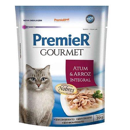Ração Úmida Super Premium Premier Gourmet Gatos Sachê Sabor Atum e Arroz Integral 70g - PremierPet
