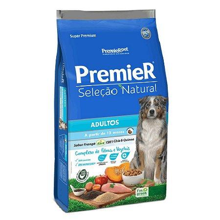 Ração Super Premium Premier Seleção Natural Cães Adultos A Partir de 12 Meses Raças Médias e Grandes Sabor Frango Korin, Chia e Quinoa 12kg - PremierPet