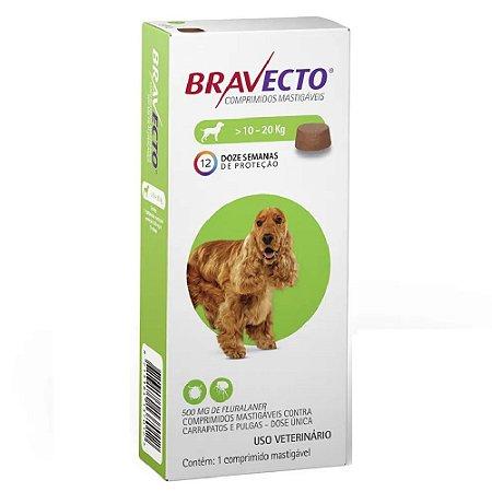 Bravecto Cães 10 A 20kg - Antipulgas e Carrapatos