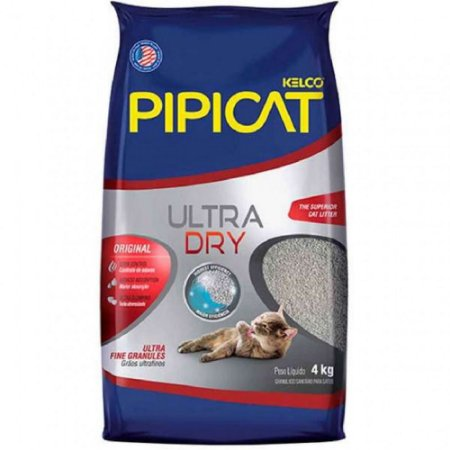 Areia Higiênica Pipicat Ultra Dry 4kg