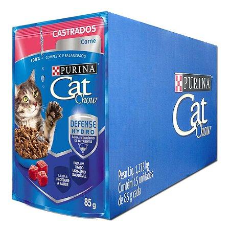 Ração Úmida Purina Cat Chow Sachê Gatos Castrados Sabor Carne Caixa 15un 85g