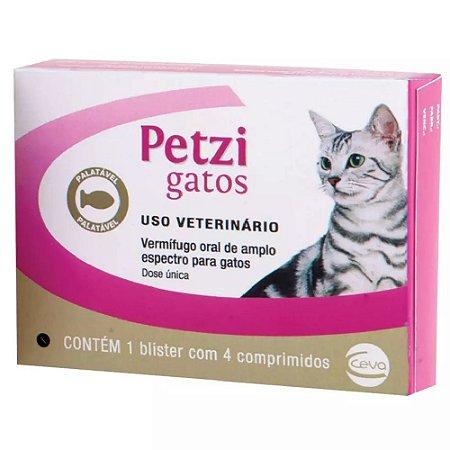 Vermífugo Petzi Gatos 4kg 4 comprimidos - Ceva