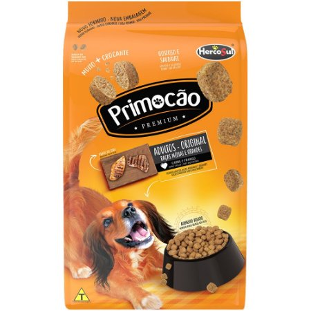 Ração Cães Adultos Primocão Premium Original Sabor Carne e Frango Raças Médias e Grandes 15kg - Hercosul