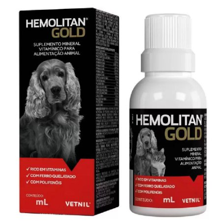 Suplemento Vitamínico Hemolitan Gold 60ml - Vetnil