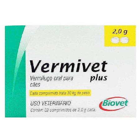 Vermífugo Vermivet Plus 30kg 2 Comprimidos - Biovet