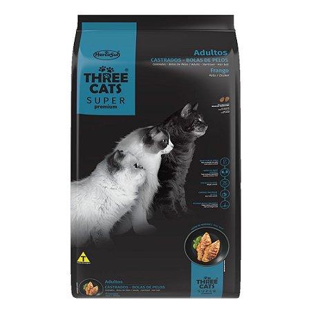 Ração Three Cats Super Premium Gatos Castrados e Bolas de Pelos Sabor Frango 10,1kg - Hercosul