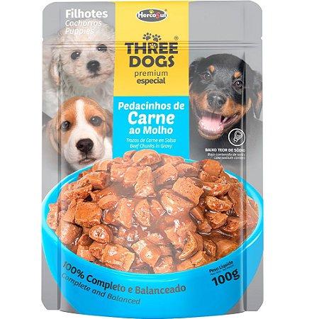 Ração Úmida Three Dogs Premium Especial Sachê Cães Filhotes Sabor Carne ao Molho 100g - Hercosul