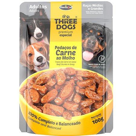 Ração Úmida Three Dogs Premium Especial Sachê Cães Adultos Raças Médias e Grandes Sabor Carne ao Molho 100g - Hercosul