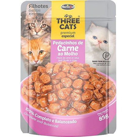 Ração Úmida Three Cats Premium Especial Sachê Gatos Flhotes Sabor Carne ao Molho 85g - Hercosul