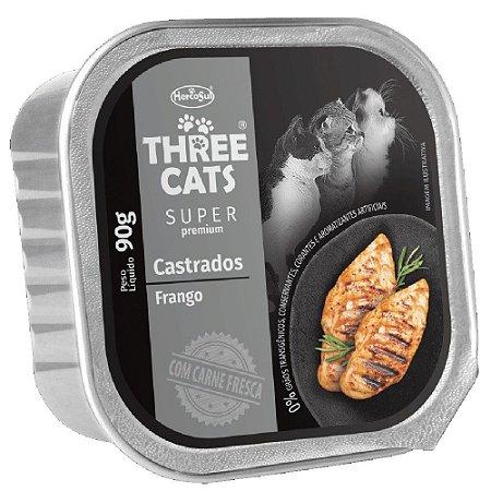 Ração Úmida Three Cats Super Premium Patê Gatos Castrados Sabor Frango 90g - Hercosul