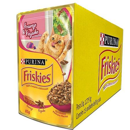 Ração Úmida Friskies Sachê Gatos Adultos Sabor Frango e Fígado ao Molho Caixa 15un 85g Cada - Purina