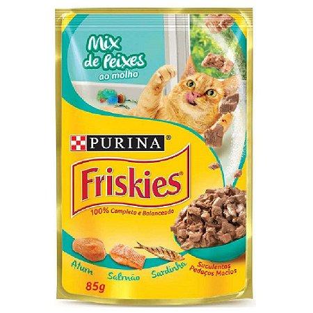 Ração Úmida Friskies Sachê Gatos Adultos Sabor Mix de Peixes ao Molho 85g - Purina