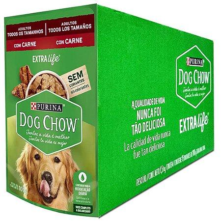 Ração Úmida Purina Dog Chow Sachê Cães Adultos Sabor Carne e Arroz Caixa 15un 100g