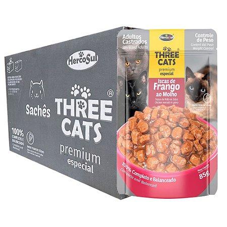Ração Úmida Three Cats Premium Especial Sachê Gatos Adultos Castrados Sabor Frango ao Molho Caixa 12un 85g Cada - Hercosul