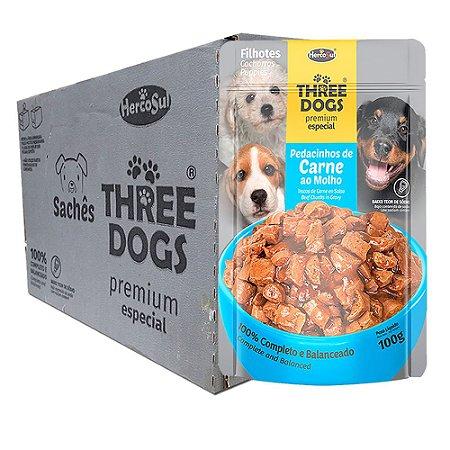 Ração Úmida Three Dogs Premium Especial Sachê Cães Filhotes Sabor Carne ao Molho Caixa 12un 100g Cada - Hercosul