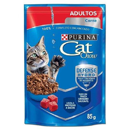 Ração Úmida Cat Chow Sachê Gatos Adultos Sabor Carne 85g - Purina