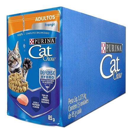 Ração Úmida Purina Cat Chow Sachê Gatos Adultos Sabor Frango Caixa 15un 85g Cada