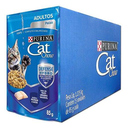 Ração Úmida Cat Chow Sachê Gatos Adultos Sabor Peixe Caixa 15un 85g Cada - Purina