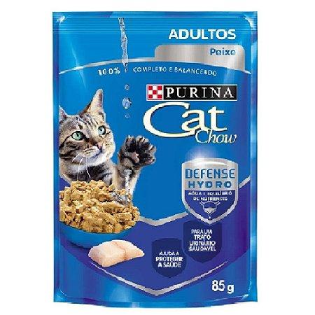 Ração Úmida Purina Cat Chow Sachê Gatos Adultos Sabor Peixe 85g