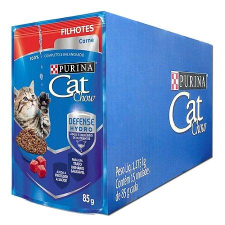 Ração Úmida Purina Cat Chow Sachê Gatos Filhotes Sabor Carne Caixa 15un 85g Cada