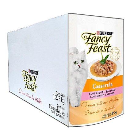 Ração Úmida Fancy Feast Sachê Gatos Adultos Casserole Sabor Atum e Salmão Caixa 15un 85g Cada - Purina