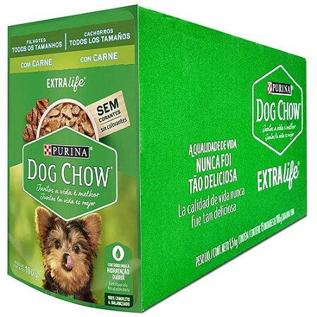 Ração Úmida Dog Chow Sachê Cães Filhotes Sabor Carne Combo 15un 100g Cada - Purina