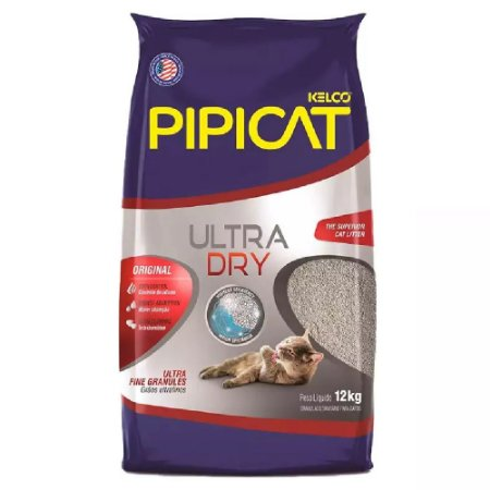 Areia Higiênica Pipicat Ultra Dry 12kg - Kelco
