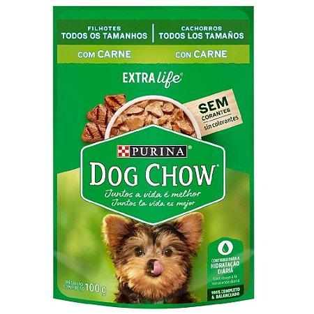 Ração Úmida Purina Dog Chow Sachê Cães Filhotes Sabor Carne 100g