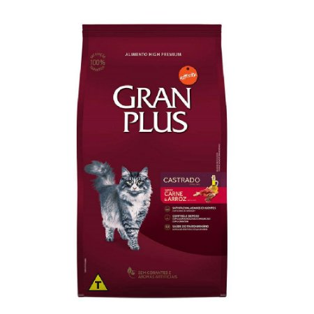 Ração Gran Plus Gato Ad Castrados Carne 10,1kg