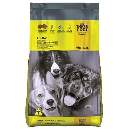 Ração Three Dogs Original Cães Raças Médias e Grandes 20kg - Hercosul