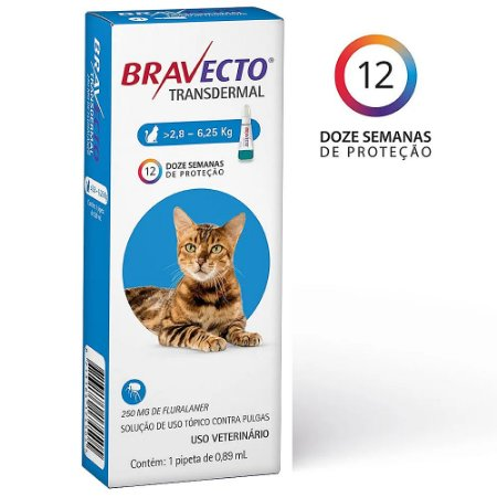 Bravecto Transdermal Gatos 2,8 a 6,25kg Antipulgas - MSD