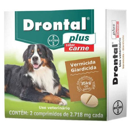 Drontal Plus 35kg Sabor Carne 2 Comp -Bayer
