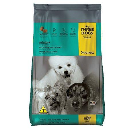 Ração Three Dogs Original Cães Adultos Raças Pequenas Frango, Carne e Arroz 10,1kg - Hercosul
