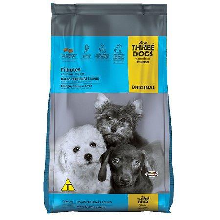 Ração Three Dogs Original Filhotes Raças Pequenas e Minis Frango, Carne e Arroz 3kg - Hercosul