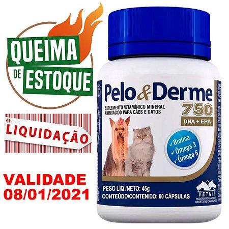 Pelo E Derme 750 60 Cápsulas Vetnil - Liquidação