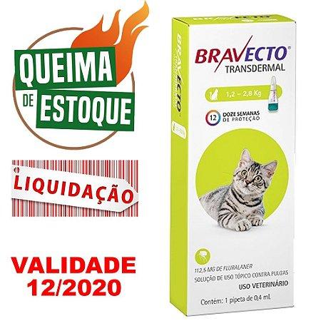 Bravecto Transdermal Gatos 1,2 a 2,8kg - MSD - LIQUIDAÇÃO