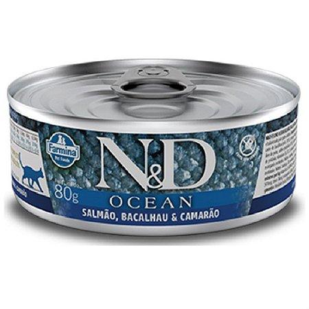 Ração Úmida N&D Ocean Gatos Salmão Bacalhau Camarão 80g