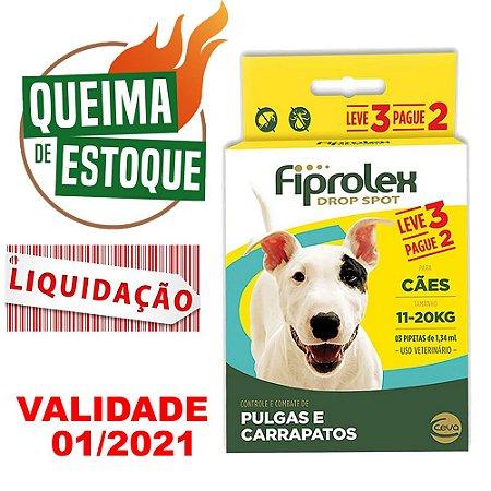 Fiprolex Cães 11kg a 20kg pague 2 leve 3 LIQUIDAÇÃO
