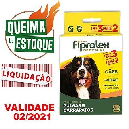 Fiprolex Cães +40kg Leve 3 Pague 2 - Ceva LIQUIDAÇÃO