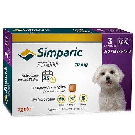 Simparic Antipulgas 10mg 2,6 A 5Kg Cx 3 Comprimidos - Zoetis