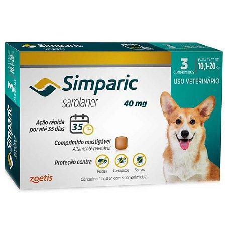 Simparic Antipulgas 40mg 10,1 a 20kg Cx 3 Comprimidos Zoetis