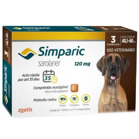 Simparic Antipulgas 120mg 40,1 a 60kg Cx 3 Comprimidos