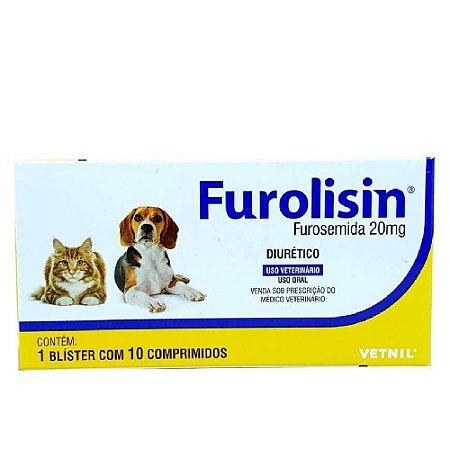 Furolisin 20mg Diurético Cães e Gatos 10 Comprimidos - Vetnil